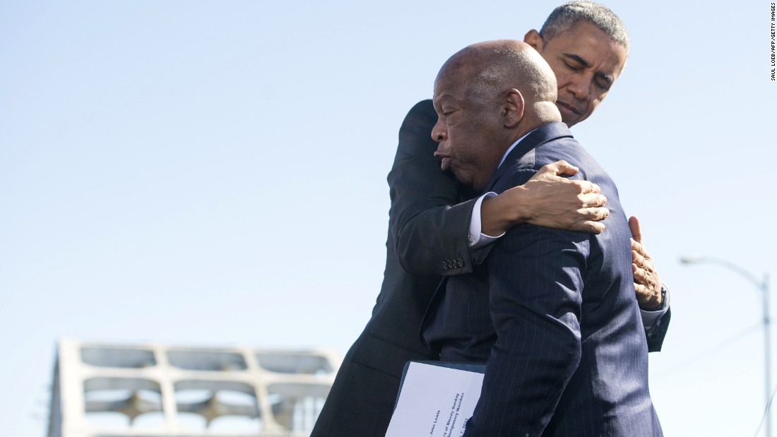 President Obama hugs U.S. Rep. John Lewis, one of the original marchers at Selma 50 years ago.