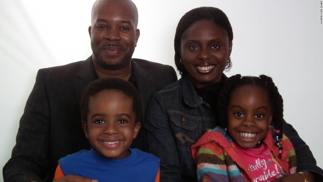 The Okade family (Clockwise from top left): Paul, Efe, Esther and Isaiah.