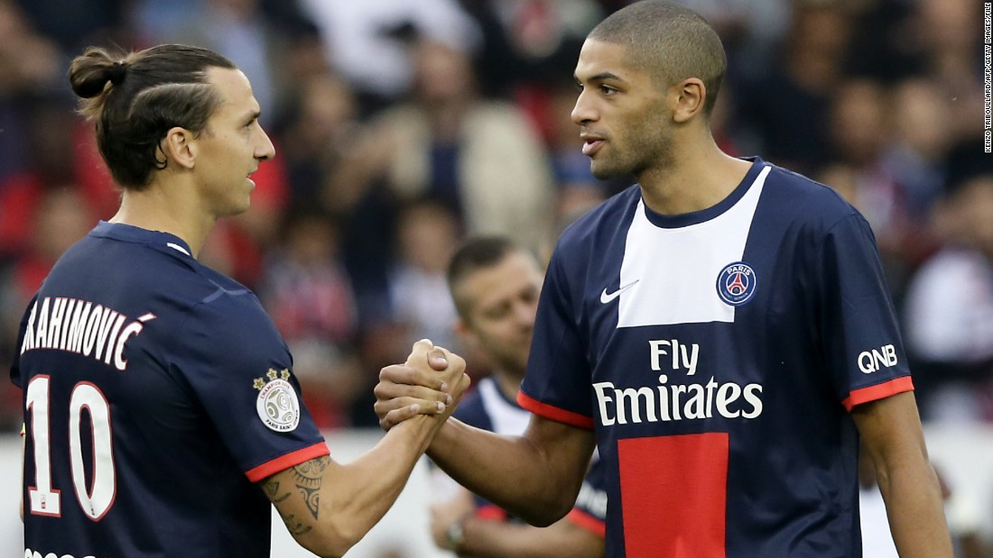 Charlotte Hornets star Nicolas Batum has a sister who lived in an area affected by the Paris attacks. Here he is pictured right with footballer Zlatan Ibrahimovic before a Paris Saint-Germain game in 2013.