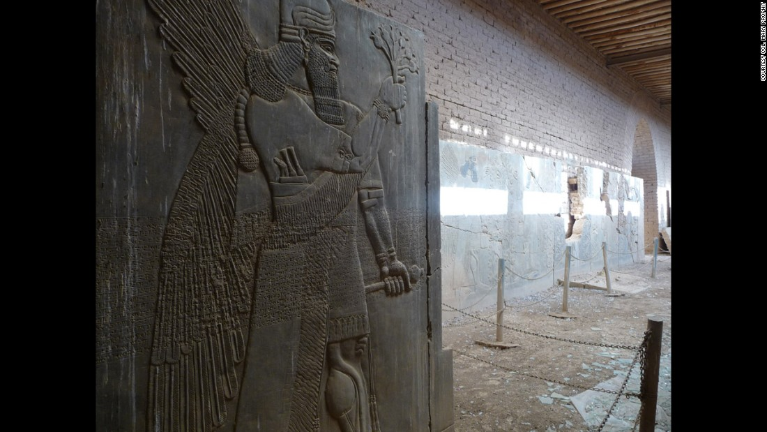 Bas-relief panels from the Palace of Ashurnasirpal II are seen in Nimrud in 2009.