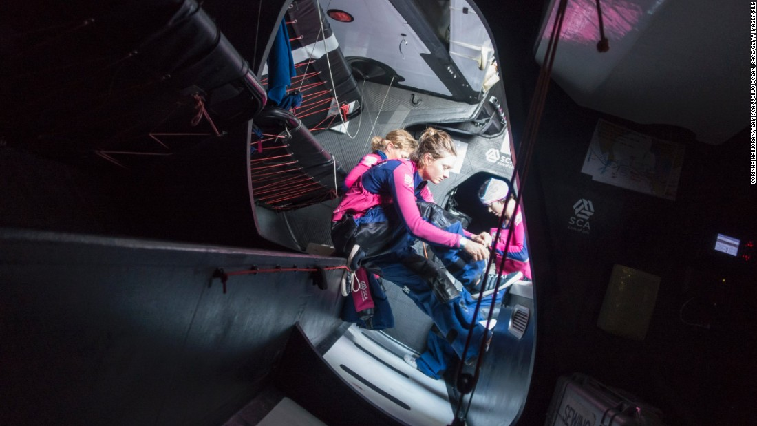 Peering inside the lower deck of Team SCA's boat, is a bit like gazing upon a space shuttle -- objects need to be secured at all times.