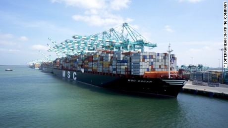 The world's largest container ship the MSC Oscar comes to the UK