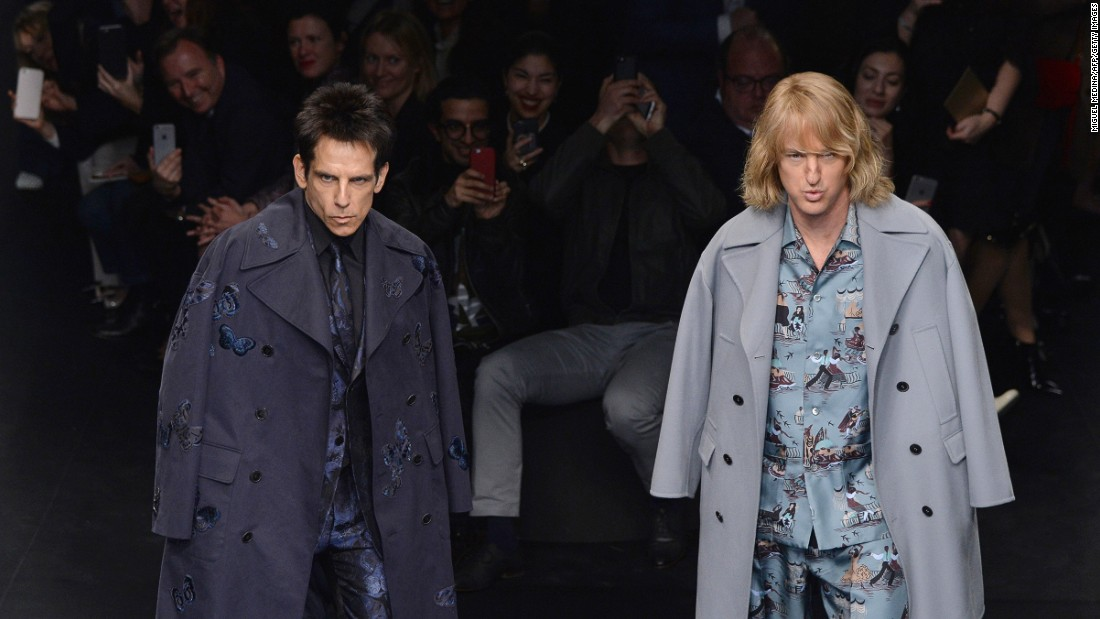 "Ridiculously good-looking models Derek Zoolander and Hansel -- sorry, actors Ben Stiller and Owen Wilson -- made an <a href=""http://edition.cnn.com/2015/03/10/living/feat-zoolander-hansel-valentino/"">exclusive appearance</a> at Valentino. The stunt became the most talked-about part of the week."