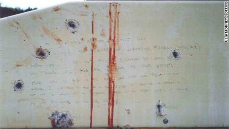 This image shows what prosecutors say are Dzhokhar Tsarnaev's writings on the inside of the boat where he was hiding and captured on April 19, 2013, after running from police in the aftermath of the Boston Marathon Bombings. Credit: 	US Attorney's Office
