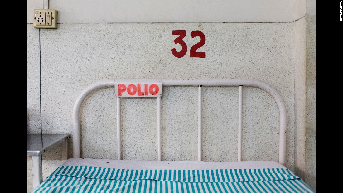 An empty bed in the polio ward of St. Stephen's Hospital in New Delhi. The ward used to be filled with patients, but it was announced last year that the disease had been eradicated in the country.