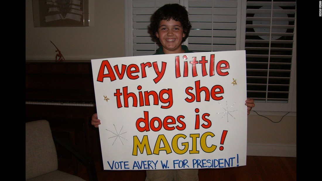 Avery was elected as class president in the fifth grade.