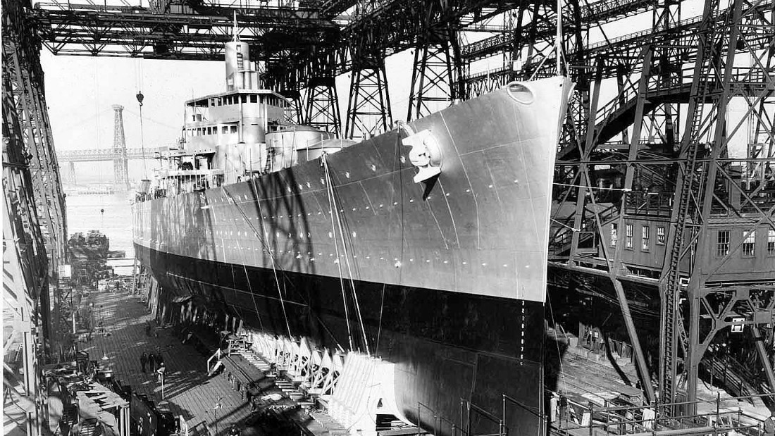 The famous New York shipyard built and repaired some of the world's most renowned military vessels. Here, the USS Brooklyn is constructed the yard in 1936.