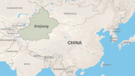 Xinjiang province is in China's far west