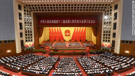 A general view shows the third session of the 12th National People's Congress at the Great Hall of the People in Beijing on March 8, 2015.