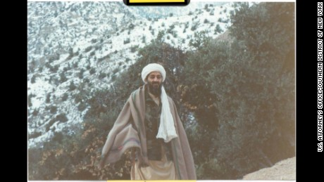 Osama bin Laden is seen at his Afghan hideout in the mountainous area of Tora Bora in 1996.
