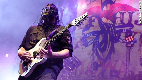 Guitarist Mick Thomson performs during the Rockstar Energy Drink Mayhem Festival in 2008.
