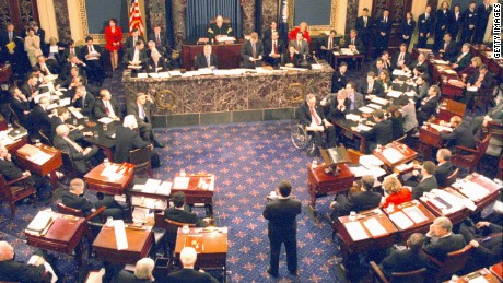 The Clinton impeachment trial on the Senate floor in Washington D.C. on February 12, 1999.