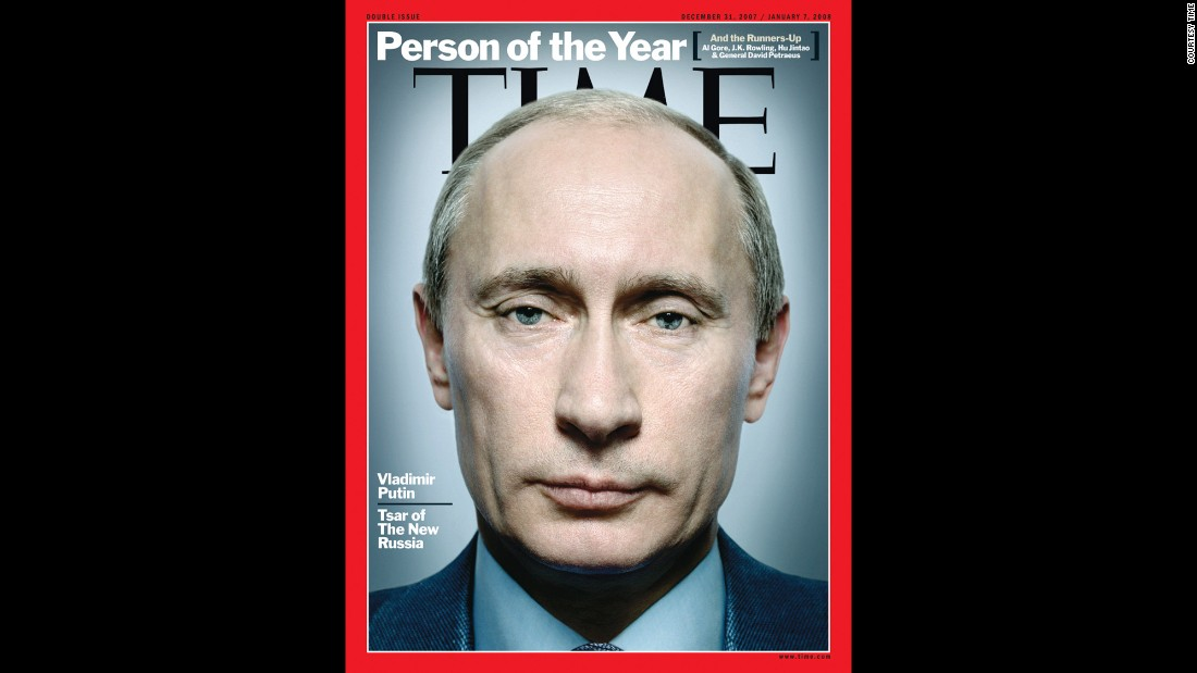 "This image, supplied by Time magazine, shows Putin on the cover after being named the magazine's 2007 ""Person of the Year."""
