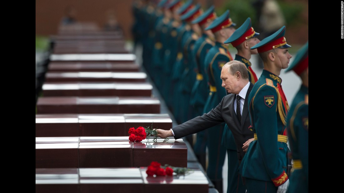 Putin takes part in a wreath-laying ceremony at the Tomb of the Unknown Soldier outside Moscow's Kremlin Wall in June.