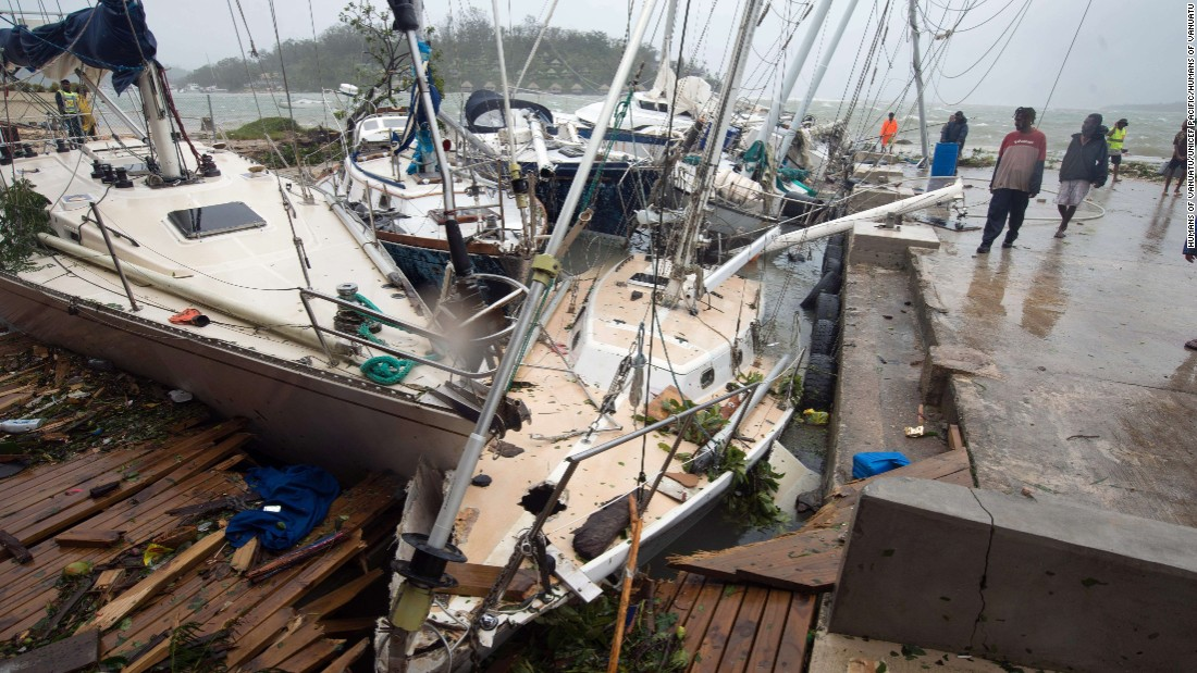 Damaged boats are seen on Saturday, March 14, in Port Vila, Vanuatu's capital.