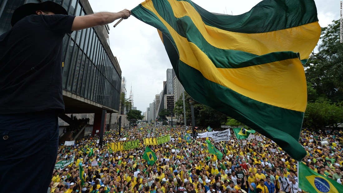 Demonstrators in Brazil protest against the government of President Dilma Rousseff in Paulista Avenue in Sao Paulo on March 15, 2015.