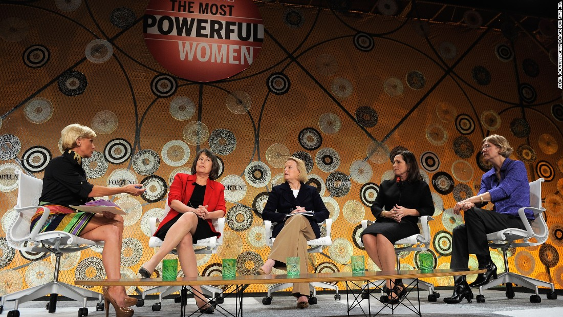 Warren (far right), an assistant to the President at the time, speaks at the Fortune Most Powerful Women summit on October 5, 2010, in Washington, D.C.