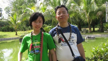 Shao Tong with her father on a trip to Southeast China's Yunnan Province.