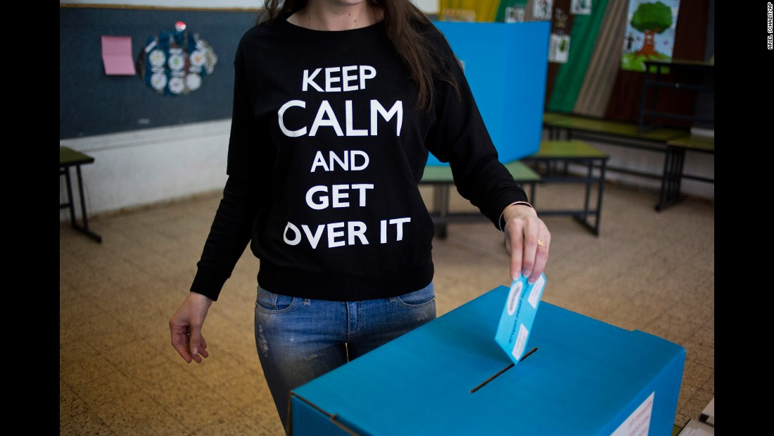 A woman casts her vote in Netanya, Israel, on March 17.