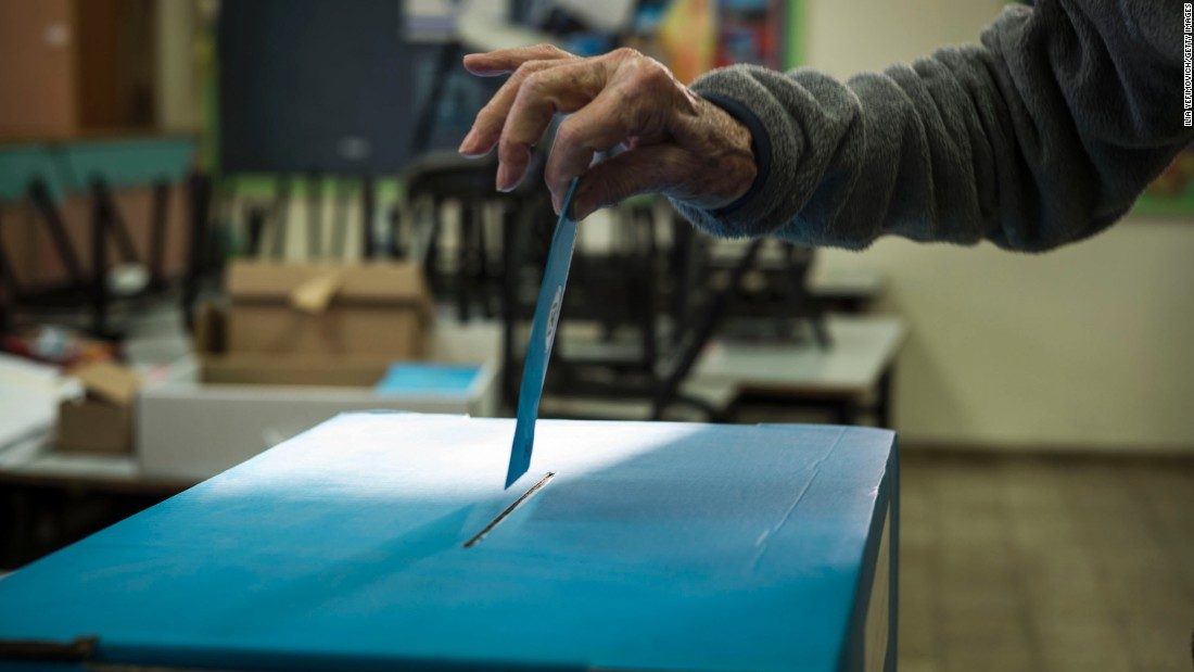 A voter casts a ballot in Tel Aviv on March 17.