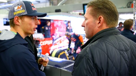 Max Verstappen with his father, Jos, at the 2014 Belgian Grand Prix.