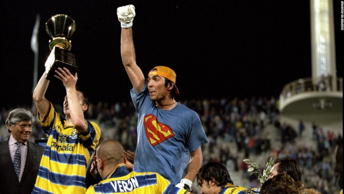 Former Parma goalkeeper Gianluigi Buffon celebrates victory in the 1999 Coppa Italia Cup Final match against Fiorentina. Buffon went on to win the World Cup with Italy in 2006 and is considered one of the greatest goalkeepers in history.