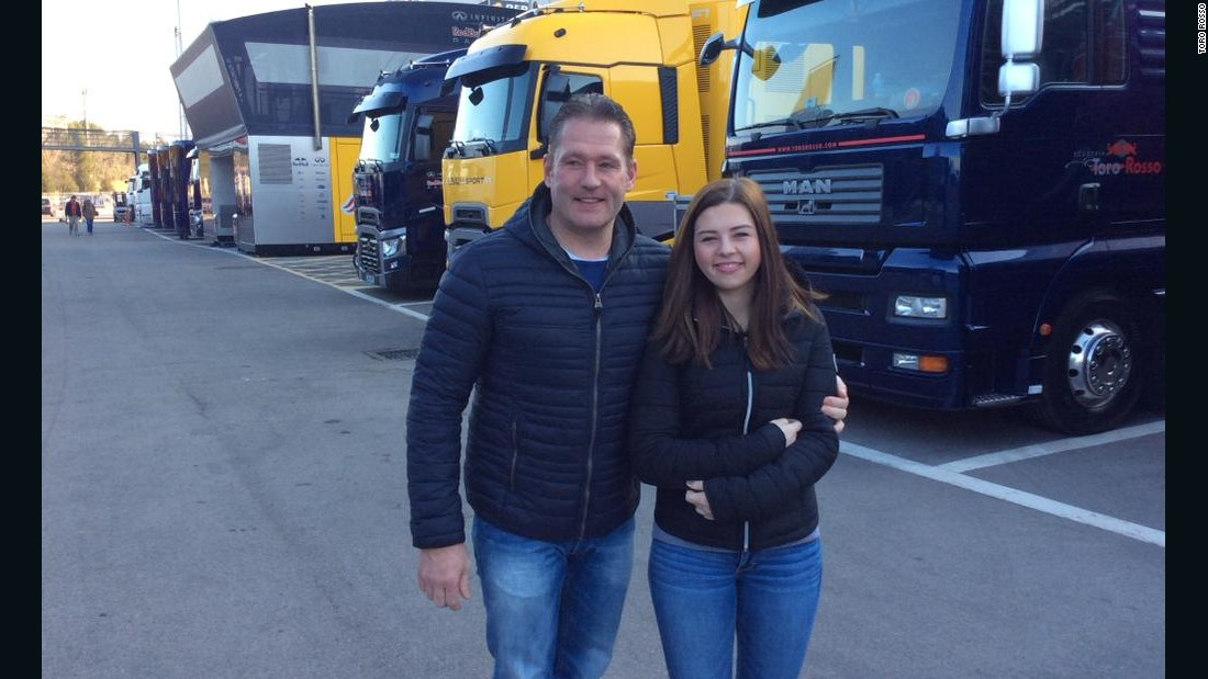 "Sister Victoria Verstappen and Jos watched Max in Barcelona testing in February. He says of his sister's own racing style:  ""She has more the character of my Dad. She's more aggressive when she's driving, it's quite funny to see."""