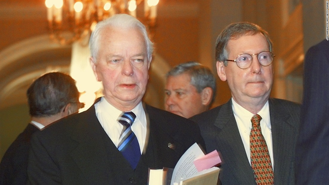 "Sen. Robert Byrd, D-West Virginia, and McConnell enter the ""Old Senate Chamber"" in January 1999 to attend a bipartisan caucus to possibly establish rules and guidelines for the impeachment trial of President Bill Clinton."