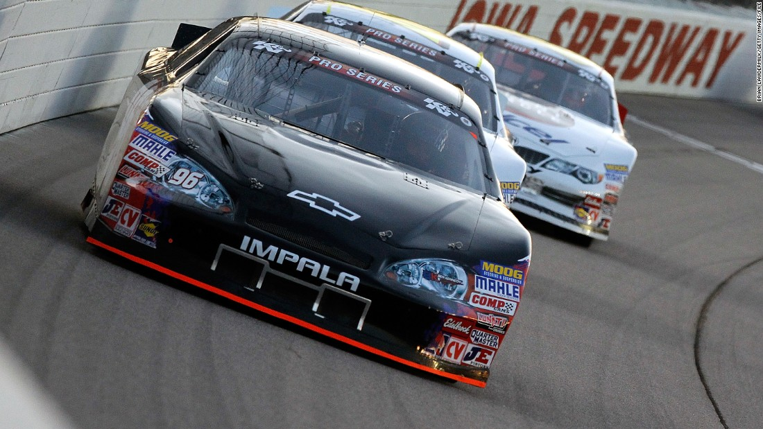 Here Ruston (#96) is pictured driving in the NASCAR K&N Pro Series at Iowa Speedway.
