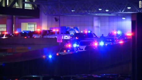 Law enforcement officers responded to an incident at Louis B. Armstrong Airport in New Orleans.