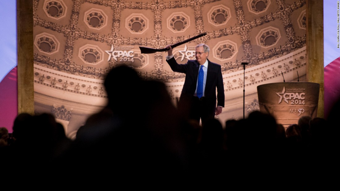 McConnell carries a musket onstage before his speech during the American Conservative Union's Conservative Political Action Conference (CPAC) in National Harbor, Maryland, in March 2014.