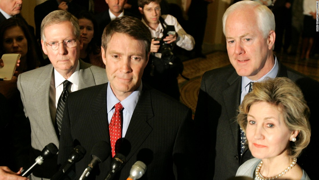 Then-Senate Majority Leader Bill Frist, R-Tennessee, center, is flanked by McConnell, Sen. John Cornyn, R-Texas, and then-Sen. Kay Bailey Hutchinson, R-Texas, as he speaks to reporters after a Senate vote in May 2005.