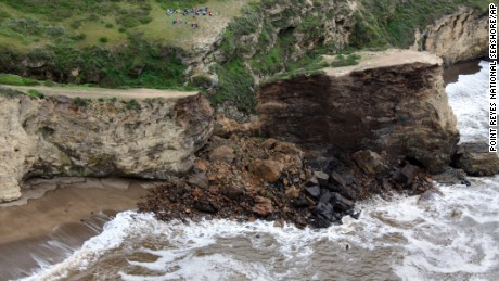 This photo provided by Point Reyes National Seashore shows a rockslide at Arch Rock within Point Reyes National Seashore on the Northern California coast north of San Francisco on Sunday, March 22.