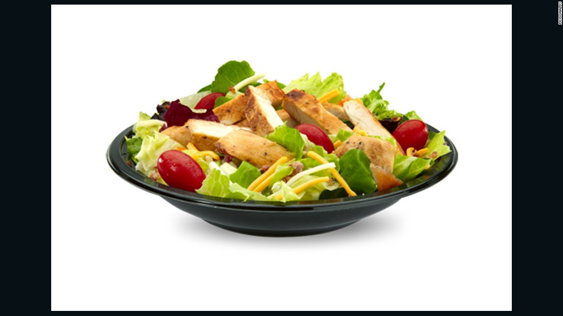 """I'd order the bacon ranch salad with grilled chicken and use less than half the dressing. It provides some veggies and fiber, some lean protein to fill me up, some calcium and flavor from the cheese and extra flavor from the bacon (sue me, I like bacon every once in a while). I'd also order apple slices as they provide fiber and help me meet my fruit quota. <br /><br />Once in a while I will eat French fries with ketchup. If I ordered them with a salad, I'd choose a small order. And I'd limit total fat and saturated fat the rest of the day. <br /><br />I think when it comes to fast food, watching portions is most important. If you stick to smallest portions and try to get foods from at least 3 food groups (lean protein, fruits and vegetables), a fast food meal doesn't have to be a dietary disaster."" <br /><br />-- Elisa Zied, MS, RDN, CDN, Author of ""<a href=""http://www.amazon.com/Elisa-Zied-Younger-Next-Week/dp/B00RWRUIXI"" target=""_blank"">Younger Next Week</a>"""