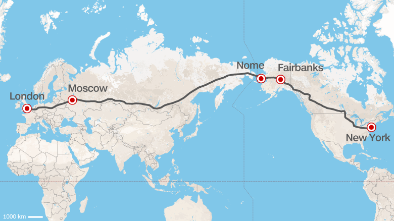 Road From Europe To US Russia Proposes Superhighway CNN Travel - Us russia map