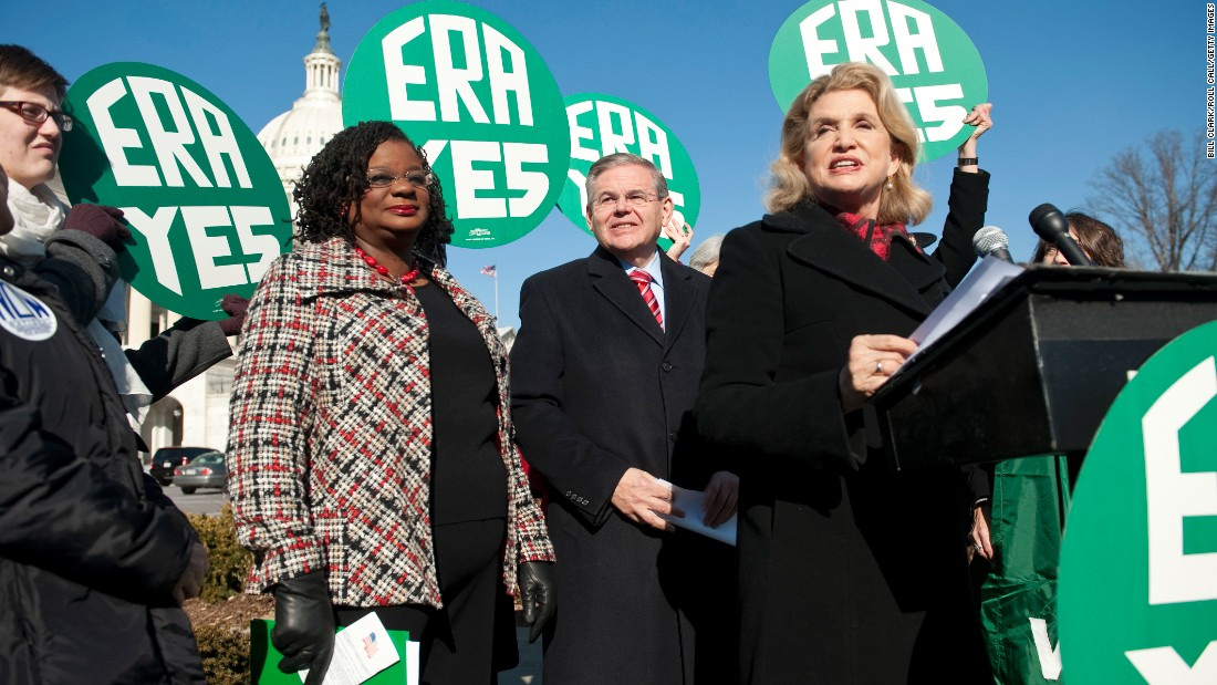 From left, Rep. Gwen Moore, Sen. Bob Menendez and Rep. Carolyn Maloney hold a news conference in 2010 outside the U.S. Capitol to call for passage of the ERA. The amendment has been introduced in nearly every session of Congress since 1923.
