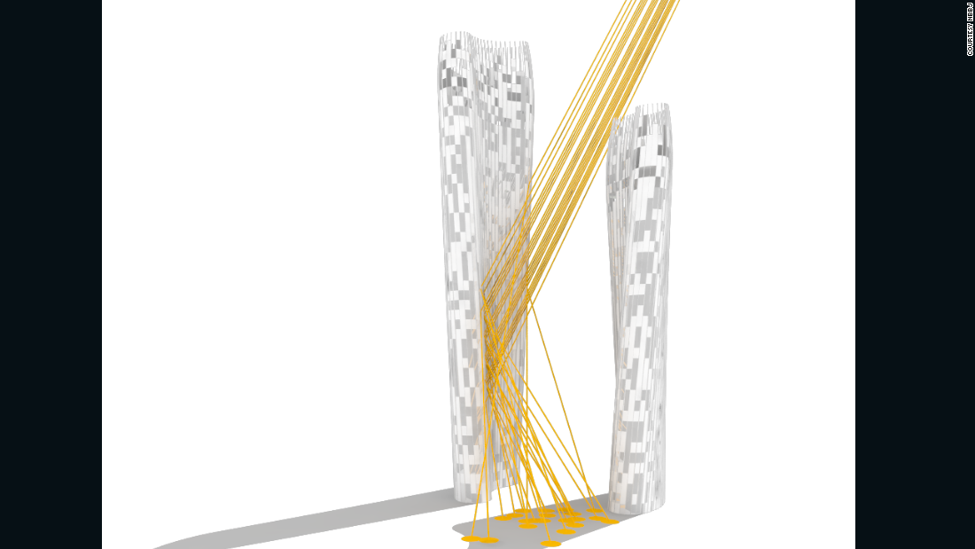 This computer graphic displays how sunlight would be reflected down onto ground level via panels stationed on the side of the larger of two towers.