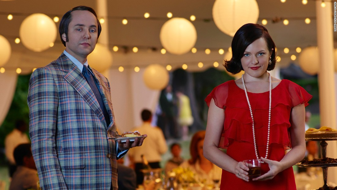 Vincent Kartheiser as Pete Campbell has not only let his jackets get loud, he's let his sideburns grow long. Moss as Peggy has often seemed in-between looks on the show, a little looser than Betty but not quite as stylish as Megan.