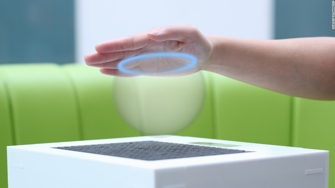 UltraHaptics technology creates 3D shapes in mid-air using focused ultrasonic waves.