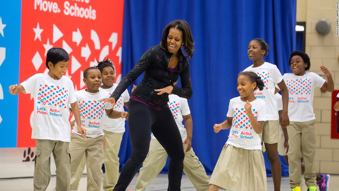 In 2010, first lady Michelle Obama started Let's Move!, an initiative to address childhood obesity and help all our kids grow up healthy. Here she participates in musical activities with students in an event at Orr Elementary School in Washington in 2013.