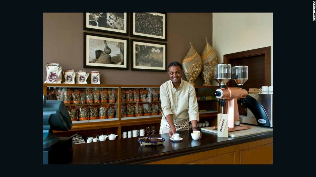 In recent times, however, a whole host of modern coffee shops have sprung in cities, such as TO.MO.CA in Addis Ababa, seen here. The cafe first opened in the 1950s, and has been in the same family for three generations.