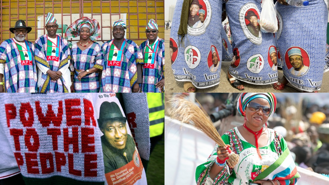 Nigerians like to wear their colors on their sleeve. Literally. When election time comes around, people go out of their way to design, make and wear outfits tailored to their political party. Bright, beautiful and in no way subtle, they're everywhere. CNN compiles the best of the 2014/15 collection, a vintage year for Nigerian political fashion.