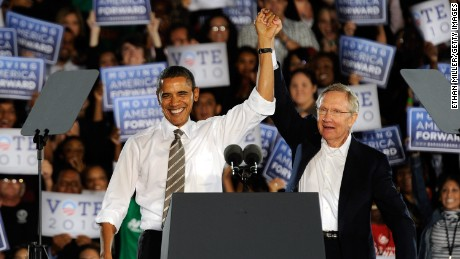 U.S. President Barack Obama (left) and U.S. Senate Majority Leader Harry Reid (D-NV) appear at a campaign rally at Orr Middle School Park October 22, 2010 in Las Vegas, Nevada.
