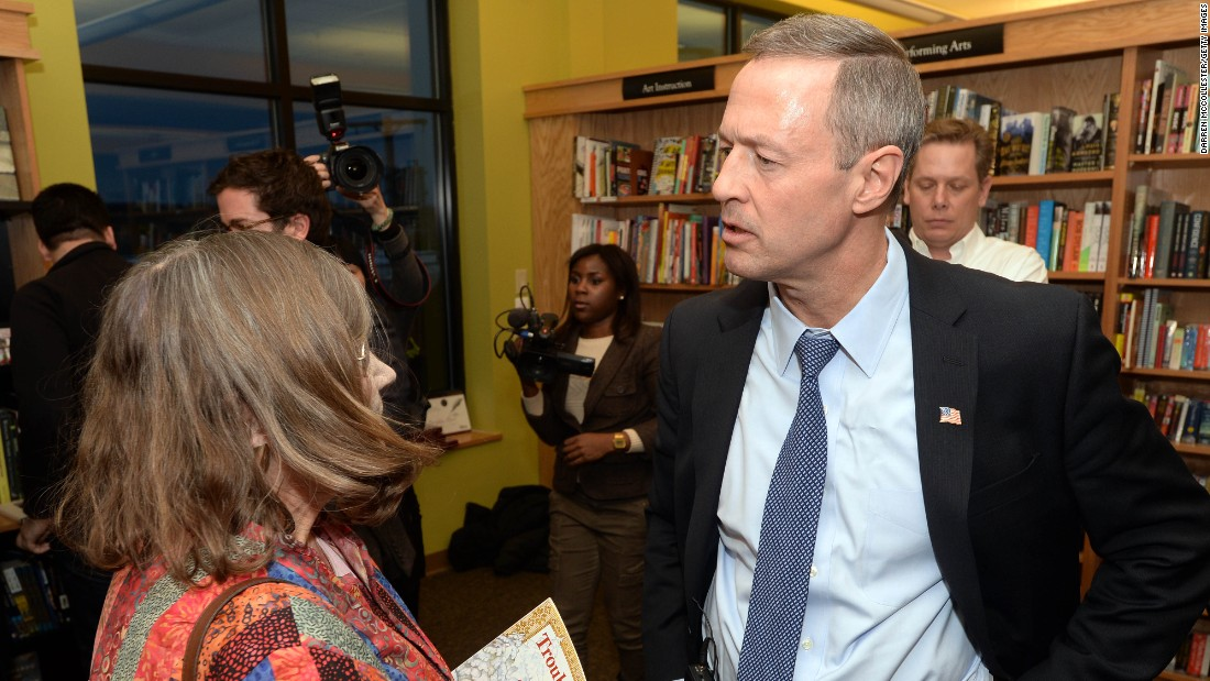 O'Malley speaks at a Democratic fundraiser at Gibson's Bookstore and True Brew Cafe on March 6 in Concord, New Hampshire.