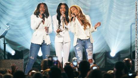 """(From left) Michelle Williams, Kelly Rowland and Beyoncé perform """"Say Yes"""" during the 30th Annual Stellar Awards in Las Vegas, March 28, 2015."""