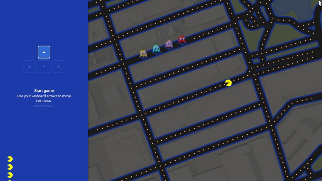 Google has previously turned its Map function into a Pac-Man game. Here, the power-pellet eating character roams the streets of Boston.