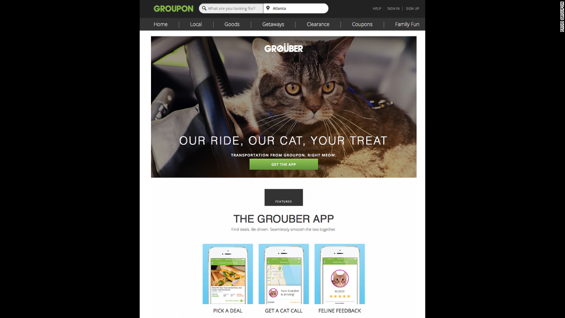 "Groupon launched ""<a href=""http://www.groupon.com/pages/grouber"" target=""_blank"">Grouber</a>,"" an Uber-like service that features cars driven by cats, guided by GPS-aided laser pointers. What could go wrong?"