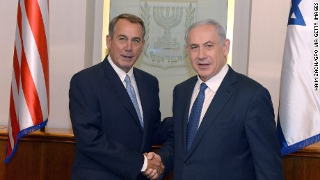 Caption: JERUSALEM, ISRAEL - APRIL 1: (ISRAEL OUT) In this handout provided by the Israeli Government Press Office, Israel Prime Minister Benjamin Netanyahu (R) meets with U.S. House Speaker John Boehner April 1, 2015 in Jerusalem, Israel. Boehner is leading a delegation of congressional Republicans to the Middle East amid intense debate over a pending nuclear deal with Iran. (Photo by Haim Zach/GPO via Getty Images)