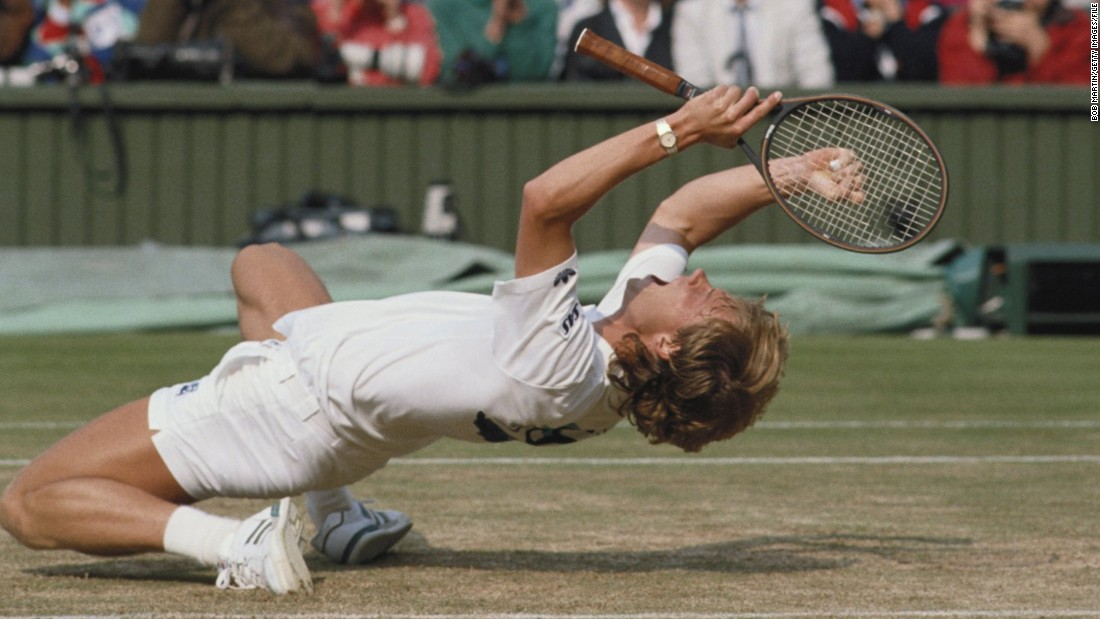Stefan Edberg thrived on grass during the serve-and-volley era. The Swede is seen celebrating after defeating Boris Becker during their Men's Singles final match at the Wimbledon in 1988. Edberg won two Wimbledon titles, while Becker claimed three.