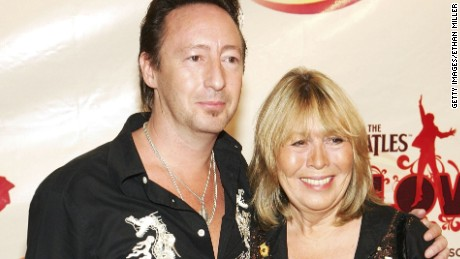 "Julian and Cynthia Lennon attend the 2006 premiere of ""The Beatles Love."""